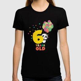 Six Years sixth Birthday Party Panda Dwpbj T-shirt