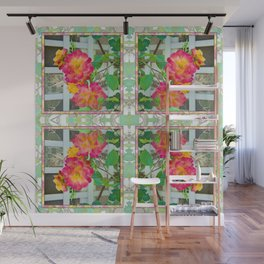 TROPICANA ROSE ON WHITE LATTICE Wall Mural