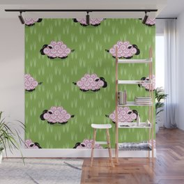 Pastel Sheep Pattern Wall Mural