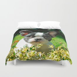 French bulldog puppy behind the foliage Duvet Cover