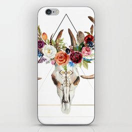 Geometric tribal floral bull skull iPhone Skin