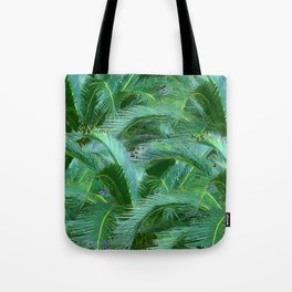 ABSTRACTED BLUE-GREEN TROPICAL PALMS GREEN ART Tote Bag