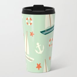 cute colorful sailboat pattern with anchor and lifebuoy Travel Mug