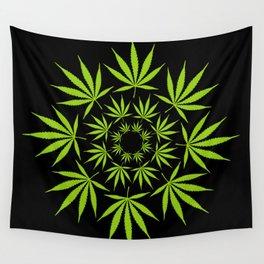 Cannabis Leaf Circle (Black) Wall Tapestry