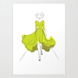 Fashion model silhouette on podium Art Print