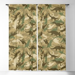 Camouflage Dinosaur Print Olive Green Khaki Tan Blackout Curtain