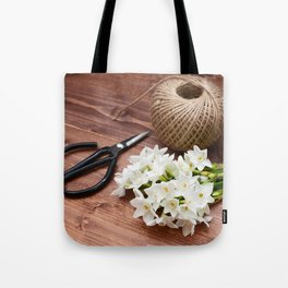 Narcissi with scissors and twine Tote Bag