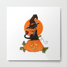 Witch Cat on Pumpkin Head Metal Print