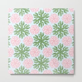 Cactus Succulent Flower Pattern Metal Print