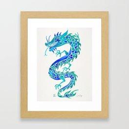 Chinese Dragon – Blue Palette Framed Art Print