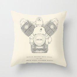 Original technical drawing, Moto Guzzi poster, engine block, classic motorbike cylinder block, garage decoration, cafe racer, scrambler,  Throw Pillow