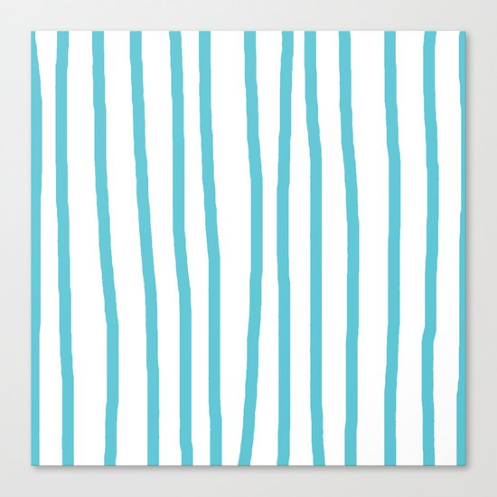 Simply Drawn Vertical Stripes in Seaside Blue Canvas Print
