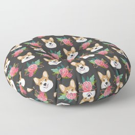 Corgi face floral bouquet cute dog breed gifts for welsh corgi lovers must haves Floor Pillow