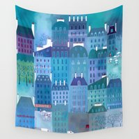 blues Wall Tapestries featuring Paris Blues by Nic Squirrell