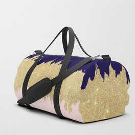 Modern navy blue blush pink gold glitter brushstrokes Duffle Bag