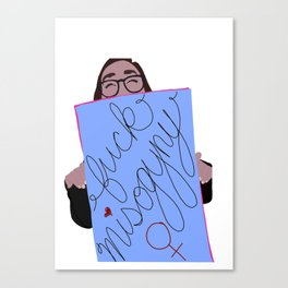 Women's March Minimalist: F*ck Misogyny Canvas Print