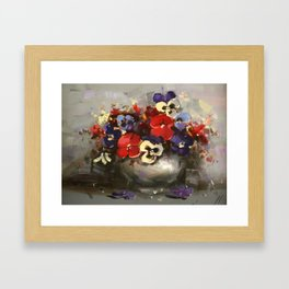 Vase of Pansies Framed Art Print