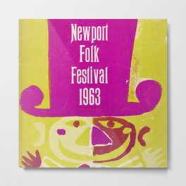 Vintage 1963 Newport Folk Festival Advertisement Poster Metal Print