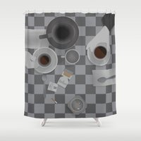 cigarettes Shower Curtains featuring Alternate 'Cofee & Cigarettes' Movie Poster Art by Post Graphic