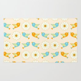 Birds and daisies Rug