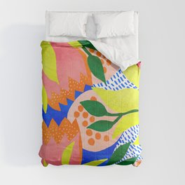 Bold Flowers on Blue Comforters