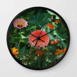 Flowers in Juicy Citrus Colors Wall Clock