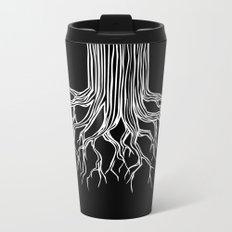 Tree Root Drawing (white on black) Metal Travel Mug