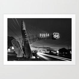 Tulsa Oklahoma Route 66 Western Gateway Arch - Black and White Art Print