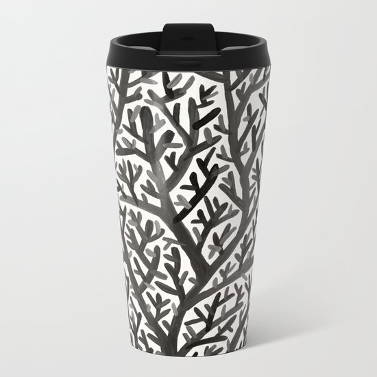 Black Fan Coral Metal Travel Mug
