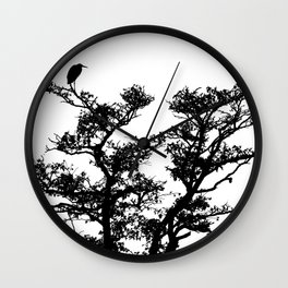 LITTLE EGRET ON THE LOOKOUT BLACK ON WHITE Wall Clock