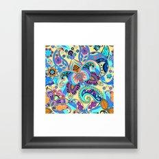 Boho Floral Fantasy Pattern Framed Art Print