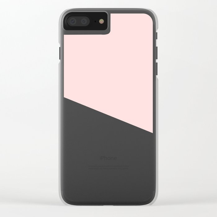 Marble Geometric Blush Pink Gray Black Clear iPhone Case