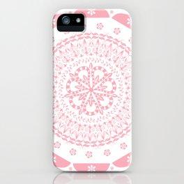 Dusky Pink Frosted Flower Mandala iPhone Case