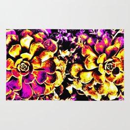 Purple Yellow Flower Plant, Pop Art Rug