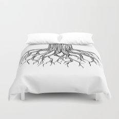 Tree Root Drawing (black on white) Duvet Cover