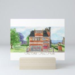 The Old Fire Hall - Watercolor Village Art Mini Art Print