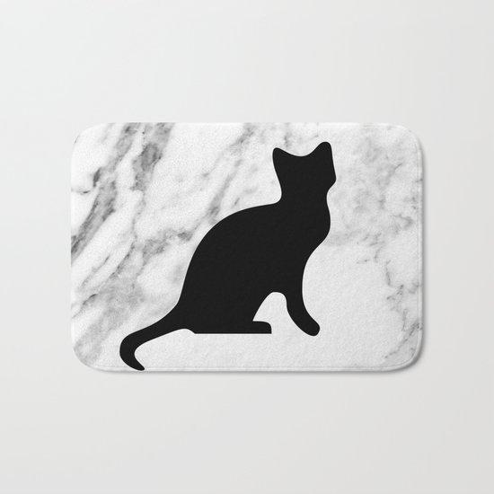 Marble black cat Bath Mat