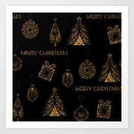 Christmas Golden pattern on black background. Art Print