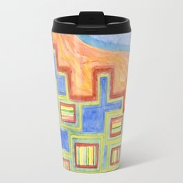 Striped Bungalows in the bright Sunlight Travel Mug