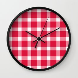 Plaid Crimson Red Wall Clock