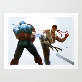 Marvel VS Capcom: Captain America VS Ryu Art Print