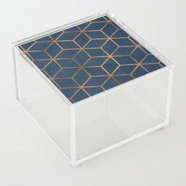 Dark Blue and Gold - Geometric Textured Cube Design Acrylic Box