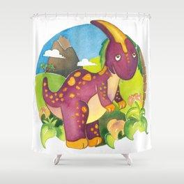 Parasaurolophus, dinosaur, By Heidi Nickerson Shower Curtain