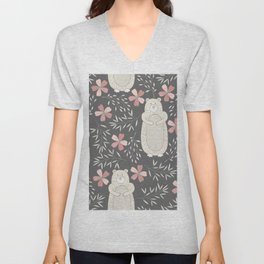 Bear and Flowers Unisex V-Neck