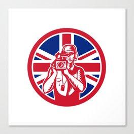 British Cameraman Union Jack Flag Icon Canvas Print