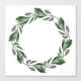 Cherry leaves wreath Canvas Print