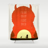 wild things Shower Curtains featuring Wild Things by Duke Dastardly