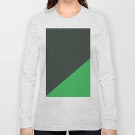 Dark Grey & Bright Green - oblique Long Sleeve T-shirt