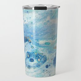 Under the Sea - Blue Abstract Acrylic Pour Art Travel Mug