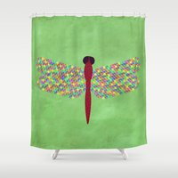 dragonfly Shower Curtains featuring Dragonfly by Artbrightcy
